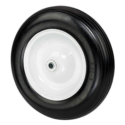 Globe-House-Products-GHP-58-Ball-Bearing-Axle-Black-PU-Polyurethane-Foam-Flat-Free-Wheel-Barrow-Tire-0