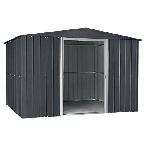 Globel-GL1009-Gable-Outdoor-Storage-Shed-Slate-GrayAluminum-White-0-0