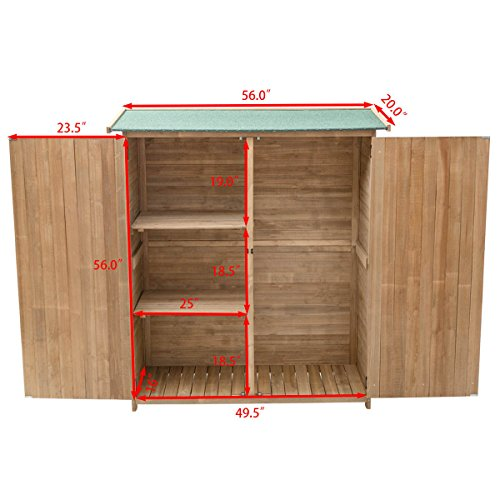 Goplus-Outdoor-Storage-Shed-Tilt-Roof-Wooden-Lockable-Storage-Unit-Fir-Wood-Cabinet-for-Garden-with-Two-Doors-0-1