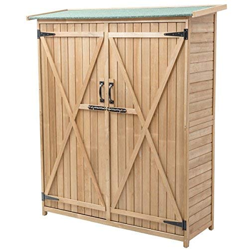 Goplus-Outdoor-Storage-Shed-Tilt-Roof-Wooden-Lockable-Storage-Unit-Fir-Wood-Cabinet-for-Garden-with-Two-Doors-0