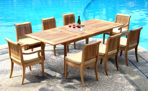 Grade-A-Teak-Wood-8-Seater-9-Pc-Dining-Set-94-Double-Extension-Rectangle-Table-8-Giva-Chairs-6-Armless-2-Arm-Captain-WFDSGVk-0