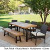 Great-Deal-Furniture-Belham-Outdoor-6-Piece-Teak-Finished-Acacia-Wood-Dining-Set-with-Multibrown-Wicker-Dining-Chairs-and-Crme-Water-Resistant-Cushions-0-1