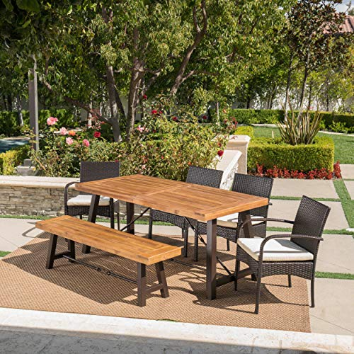 Great-Deal-Furniture-Belham-Outdoor-6-Piece-Teak-Finished-Acacia-Wood-Dining-Set-with-Multibrown-Wicker-Dining-Chairs-and-Crme-Water-Resistant-Cushions-0-2