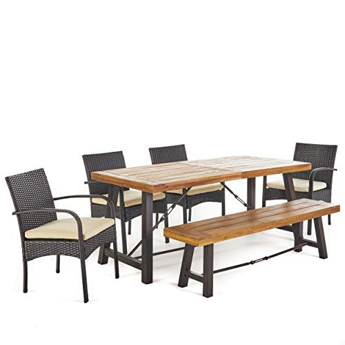 Great-Deal-Furniture-Belham-Outdoor-6-Piece-Teak-Finished-Acacia-Wood-Dining-Set-with-Multibrown-Wicker-Dining-Chairs-and-Crme-Water-Resistant-Cushions-0