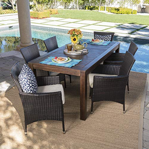 Great-Deal-Furniture-TAFT-Outdoor-7-Piece-Dining-Set-with-Dark-Brown-Finished-Wood-Table-and-Multibrown-Wicker-Dining-Chairs-with-Beige-Water-Resistant-Cushions-0-0