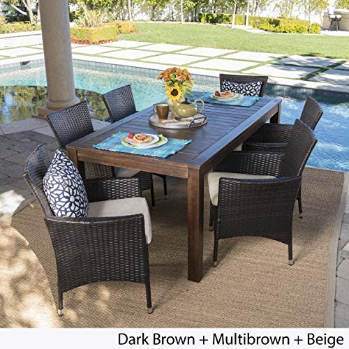 Great-Deal-Furniture-TAFT-Outdoor-7-Piece-Dining-Set-with-Dark-Brown-Finished-Wood-Table-and-Multibrown-Wicker-Dining-Chairs-with-Beige-Water-Resistant-Cushions-0-1