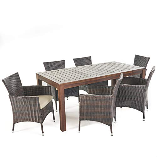 Great-Deal-Furniture-TAFT-Outdoor-7-Piece-Dining-Set-with-Dark-Brown-Finished-Wood-Table-and-Multibrown-Wicker-Dining-Chairs-with-Beige-Water-Resistant-Cushions-0