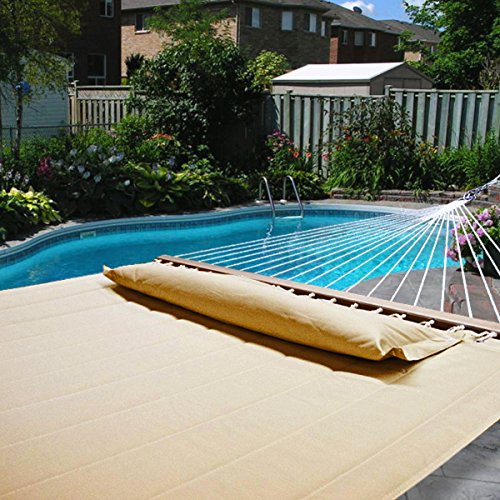 Hammock-Outdoor-Quilted-Cotton-Fabric-Beach-Rope-Hammocks-Swing-Bed-Back-Yard-with-Pillow-New-Tan-0