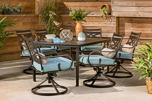 Hanover-MCLRDN7PCSQSW6-BLU-Montclair-7-Piece-Set-in-Ocean-Blue-with-6-Swivel-Rockers-and-a-40-x-67-Dining-Table-Outdoor-Furniture-0