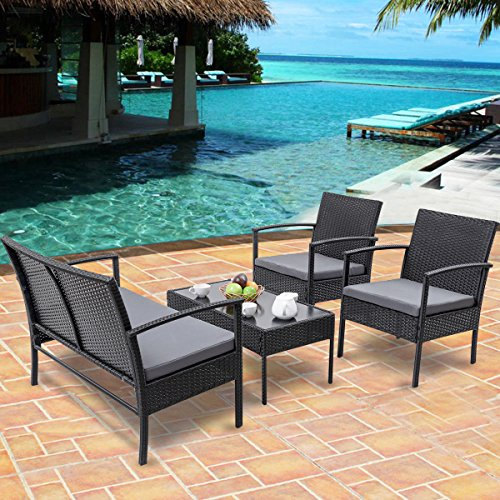 Heaven-Tvcz-Patio-Rattan-Wicker-Set-4-PCS-Table-Sofa-Cushioned-Deck-Black-Furniture-Outdoor-0-0