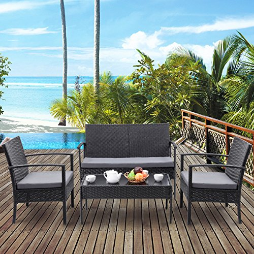 Heaven-Tvcz-Patio-Rattan-Wicker-Set-4-PCS-Table-Sofa-Cushioned-Deck-Black-Furniture-Outdoor-0-1