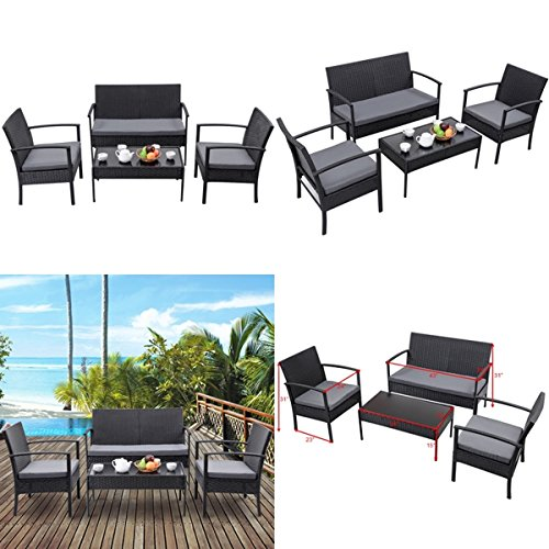 Heaven-Tvcz-Patio-Rattan-Wicker-Set-4-PCS-Table-Sofa-Cushioned-Deck-Black-Furniture-Outdoor-0-2
