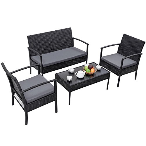 Heaven-Tvcz-Patio-Rattan-Wicker-Set-4-PCS-Table-Sofa-Cushioned-Deck-Black-Furniture-Outdoor-0