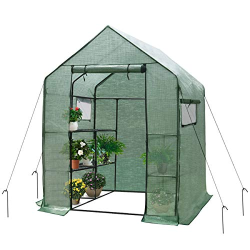 Home-use-Large-Walk-in-Greenhouse-With-PE-Cover-Outdoor-Gardening-Organic-Greenhouse-For-Grow-Seeds-Seedlings-Succulents3-Tiers-6-Shelves-56-W-x-56-D-x-77-H-Inch-0-0