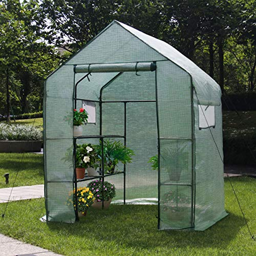Home-use-Large-Walk-in-Greenhouse-With-PE-Cover-Outdoor-Gardening-Organic-Greenhouse-For-Grow-Seeds-Seedlings-Succulents3-Tiers-6-Shelves-56-W-x-56-D-x-77-H-Inch-0-1