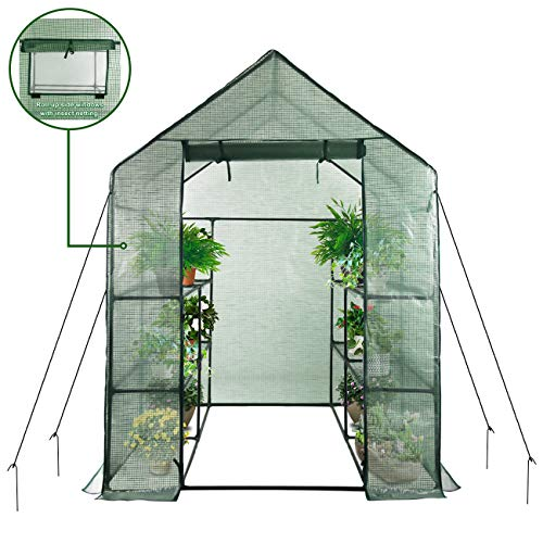 Home-use-Large-Walk-in-Greenhouse-With-PE-Cover-Outdoor-Gardening-Organic-Greenhouse-For-Grow-Seeds-Seedlings-Succulents3-Tiers-6-Shelves-56-W-x-56-D-x-77-H-Inch-0