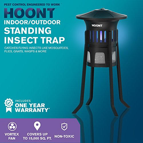 Hoont-Mosquito-Killer-and-Gnat-Fly-Trap-Killer-by-Indoor-Outdoor-Mosquito-Trap-Control-with-Stand-Bright-UV-Light-and-FanExterminate-Mosquitoes-Wasps-Etc-Perfect-for-Patio-Gardens-etc-0