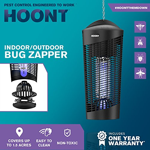 Hoont Robust Electric Indoor Outdoor Fly Zapper and Bug Zapper Trap Catcher  Killer – Protects Up to 1 5 Acre / Bug and Fly Killer, Insect Killer,