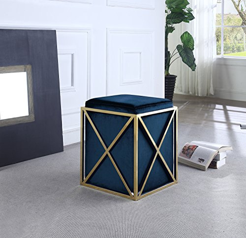 Iconic-Home-Dawn-Ottoman-Brass-Finished-Stainless-Steel-X-Frame-Square-Velvet-Bench-Contemporary-Modern-0-0