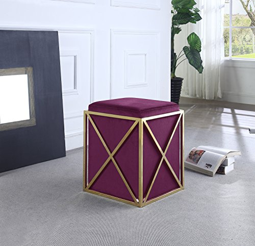 Iconic-Home-Dawn-Ottoman-Brass-Finished-Stainless-Steel-X-Frame-Square-Velvet-Bench-Contemporary-Modern-0-1