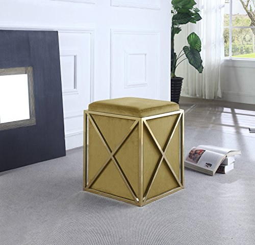 Iconic-Home-Dawn-Ottoman-Brass-Finished-Stainless-Steel-X-Frame-Square-Velvet-Bench-Contemporary-Modern-0-2