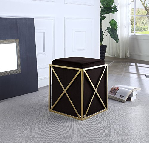Iconic-Home-Dawn-Ottoman-Brass-Finished-Stainless-Steel-X-Frame-Square-Velvet-Bench-Contemporary-Modern-0