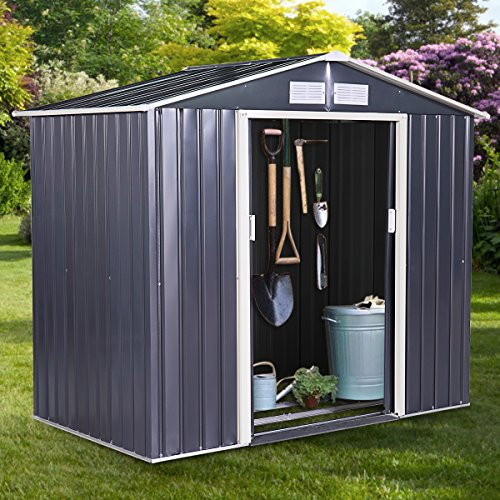 JAXPETY-Galvanized-Steel-Outdoor-Garden-Storage-Shed-9-x-6-Ft-Heavy-Duty-Tool-House-WSliding-Door-0-1