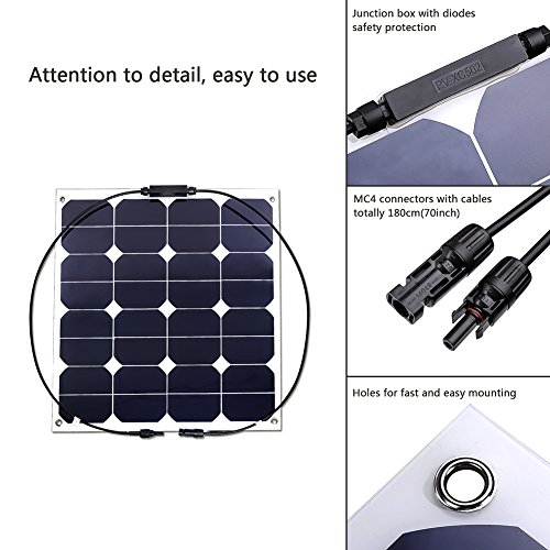 Jannyshop-18V-50W-Flexible-Solar-Panel-Solar-Charger-with-Cable-for-12V-Battery-Caravan-Boat-Shed-Car-Motorhome-Camping-Monocrystalline-0-0