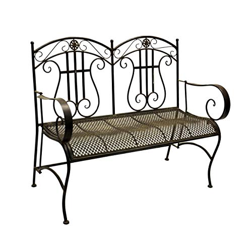 Jeco-Qadir-Black-and-Brown-Iron-Mid-Century-Style-Bench-0