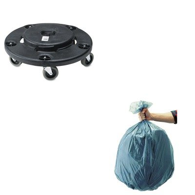 KITRCP264000BKRCP501188GRA-Value-Kit-Rubbermaid-Black-Brute-Twist-OnOff-Round-Dolly-RCP264000BK-and-Rubbermaid-5011-88-Tuffmade-Polyliner-Low-Density-Can-Liners-55-Gallons-RCP501188GRA-0