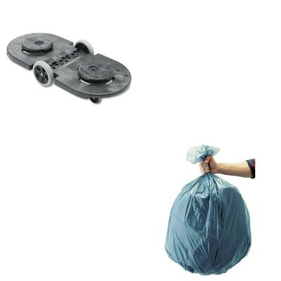 KITRCP264600BLARCP501188GRA-Value-Kit-Rubbermaid-Tandem-Dolly-RCP264600BLA-and-Rubbermaid-5011-88-Tuffmade-Polyliner-Low-Density-Can-Liners-55-Gallons-RCP501188GRA-0