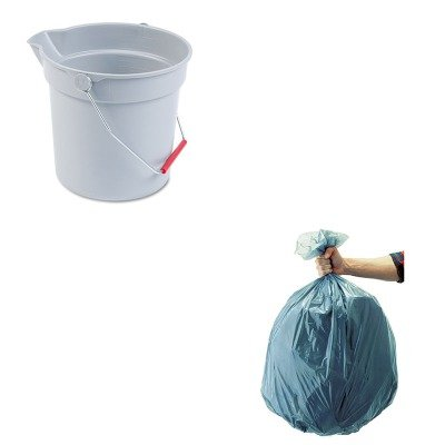 KITRCP296300GYRCP501188GRA-Value-Kit-Rubbermaid-Gray-Brute-Plastic-10-Quart-Round-Bucket-RCP296300GY-and-Rubbermaid-5011-88-Tuffmade-Polyliner-Low-Density-Can-Liners-55-Gallons-RCP501188GRA-0