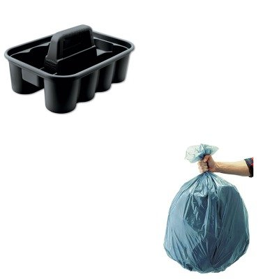 KITRCP315488BLARCP501188GRA-Value-Kit-Deluxe-Black-Carry-Caddy-RCP315488BLA-and-Rubbermaid-5011-88-Tuffmade-Polyliner-Low-Density-Can-Liners-55-Gallons-RCP501188GRA-0