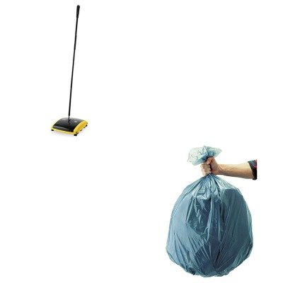 KITRCP421388BLARCP501188GRA-Value-Kit-Dual-Action-Sweeper-BoarNylon-Bristles-42quot-SteelPlastic-Handle-BlackYellow-RCP421388BLA-and-Rubbermaid-5011-88-Tuffmade-Polyliner-Low-Density-Can-Liners-55-Gal-0