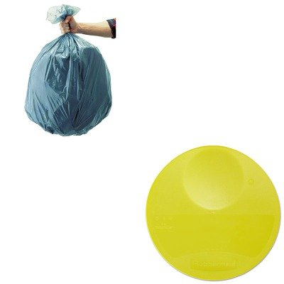 KITRCP501188GRARCP5725YEL-Value-Kit-Rubbermaid-Yellow-Round-Storage-Container-Lid-RCP5725YEL-and-Rubbermaid-5011-88-Tuffmade-Polyliner-Low-Density-Can-Liners-55-Gallons-RCP501188GRA-0