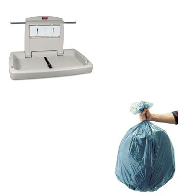 KITRCP501188GRARCP781888-Value-Kit-Rubbermaid-7818-88-Baby-Changing-Station-Horizontal-RCP781888-and-Rubbermaid-5011-88-Tuffmade-Polyliner-Low-Density-Can-Liners-55-Gallons-RCP501188GRA-0