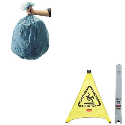 KITRCP501188GRARCP9S00YEL-Value-Kit-Rubbermaid-Multilingual-ampquot-Cautionampquot-Pop-Up-Safety-Cone-RCP9S00YEL-and-Rubbermaid-5011-88-Tuffmade-Polyliner-Low-Density-Can-Liners-55-Gallons-RCP501188GR-0