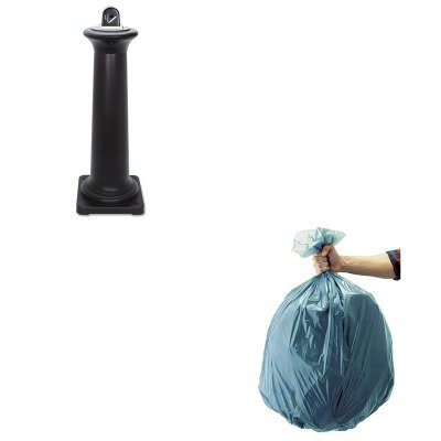 KITRCP501188GRARCP9W300BLA-Value-Kit-Rubbermaid-Tuscan-Style-GroundskeeperBlack-RCP9W300BLA-and-Rubbermaid-5011-88-Tuffmade-Polyliner-Low-Density-Can-Liners-55-Gallons-RCP501188GRA-0