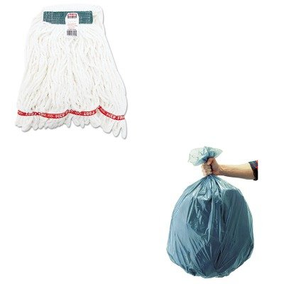 KITRCP501188GRARCPA21206WHI-Value-Kit-Rubbermaid-Web-Foot-Shrinkless-Looped-End-Wet-Mop-Head-RCPA21206WHI-and-Rubbermaid-5011-88-Tuffmade-Polyliner-Low-Density-Can-Liners-55-Gallons-RCP501188GRA-0