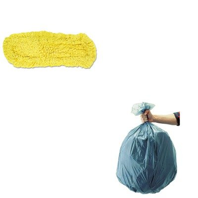 KITRCP501188GRARCPJ15200YEL-Value-Kit-Rubbermaid-Dust-Mop-Trapper-Looped1-8X5-RCPJ15200YEL-and-Rubbermaid-5011-88-Tuffmade-Polyliner-Low-Density-Can-Liners-55-Gallons-RCP501188GRA-0