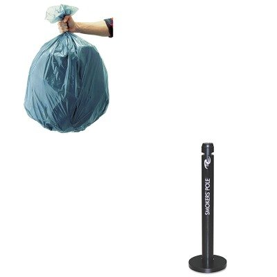 KITRCP501188GRARCPR1BK-Value-Kit-Smokers-Pole-Round-Steel-Black-RCPR1BK-and-Rubbermaid-5011-88-Tuffmade-Polyliner-Low-Density-Can-Liners-55-Gallons-RCP501188GRA-0