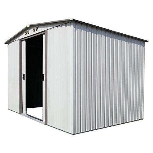 Kinbor-New-8-x-6-Outdoor-White-Steel-Garden-Storage-Utility-Tool-Shed-Backyard-Lawn-Building-Garage-wSliding-Door-0-1