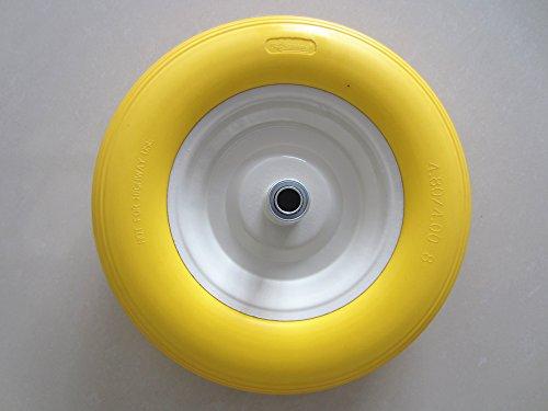 Kunhua-480400-8-inch-Flat-Free-Wheelbarrow-Tire-with-Ribbed-Tread-6-inch-Hub-34-inch-Ball-Bearings-155-inch-Tire-Diameter-0-0