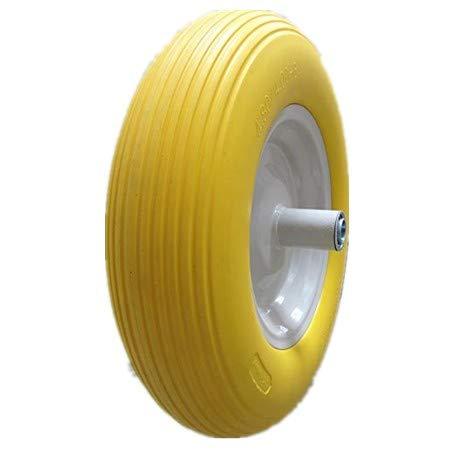 Kunhua-480400-8-inch-Flat-Free-Wheelbarrow-Tire-with-Ribbed-Tread-6-inch-Hub-34-inch-Ball-Bearings-155-inch-Tire-Diameter-0