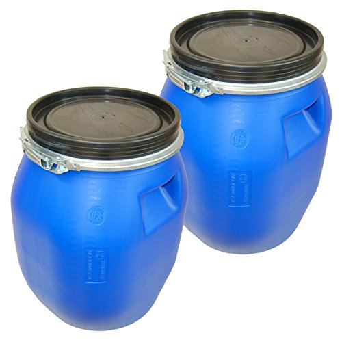 Lot-of-2-Kegxplastic-drum-with-open-lid-galvanized-locking-lever-blue-30-L-2×22094-0