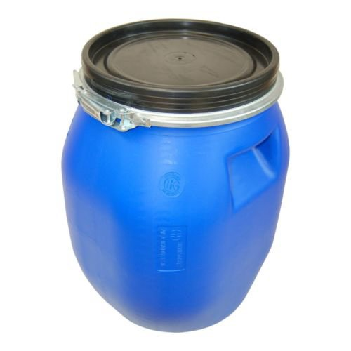 Lot-of-4-Kegs-plastic-drum-with-open-lid-galvanized-locking-lever-blue-30-L-4×22094-0