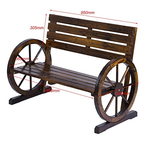 Lovelystar-Patio-Garden-Wooden-Wagon-Wheel-Bench-Rustic-Wood-Design-Decorative-Outdoor-Furniture-0-0