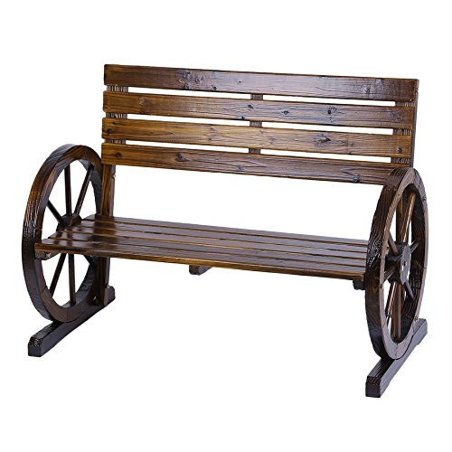 Lovelystar-Patio-Garden-Wooden-Wagon-Wheel-Bench-Rustic-Wood-Design-Decorative-Outdoor-Furniture-0