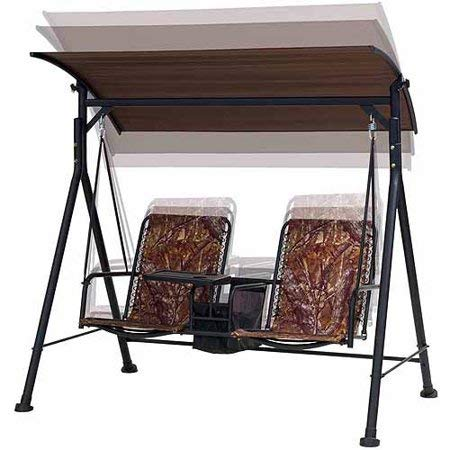 Luxury-and-Highly-Functional-Two-Seat-Bungee-Canopy-Swing-with-Console-Table-Sturdy-Rust-Resistant-Powder-Coated-Steel-Frame-Cool-Fade-Resistant-Ventilated-Woven-Pattern-for-the-Seat-and-Back-0