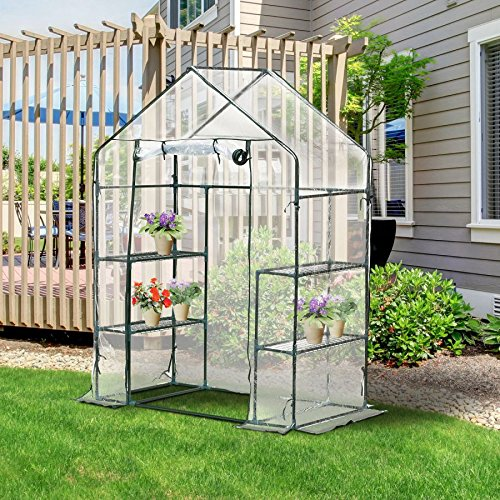 MRT-SUPPLY-4-Shelves-Outdoor-Portable-Walk-In-Greenhouse-Plant-Flower-Gardening-wClear-PE-Cover-with-Ebook-0-0